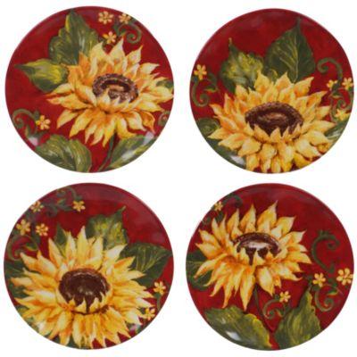 Sunset Sunflower 4-Pc. Canape Plate