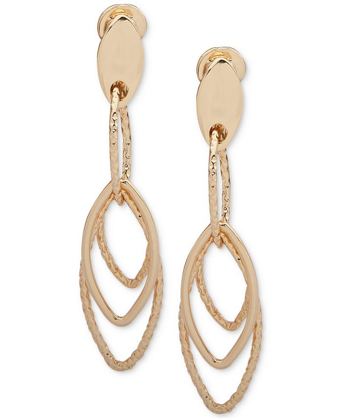 Anne Klein - Gold-Tone Clip-On Linear Drop Earrings