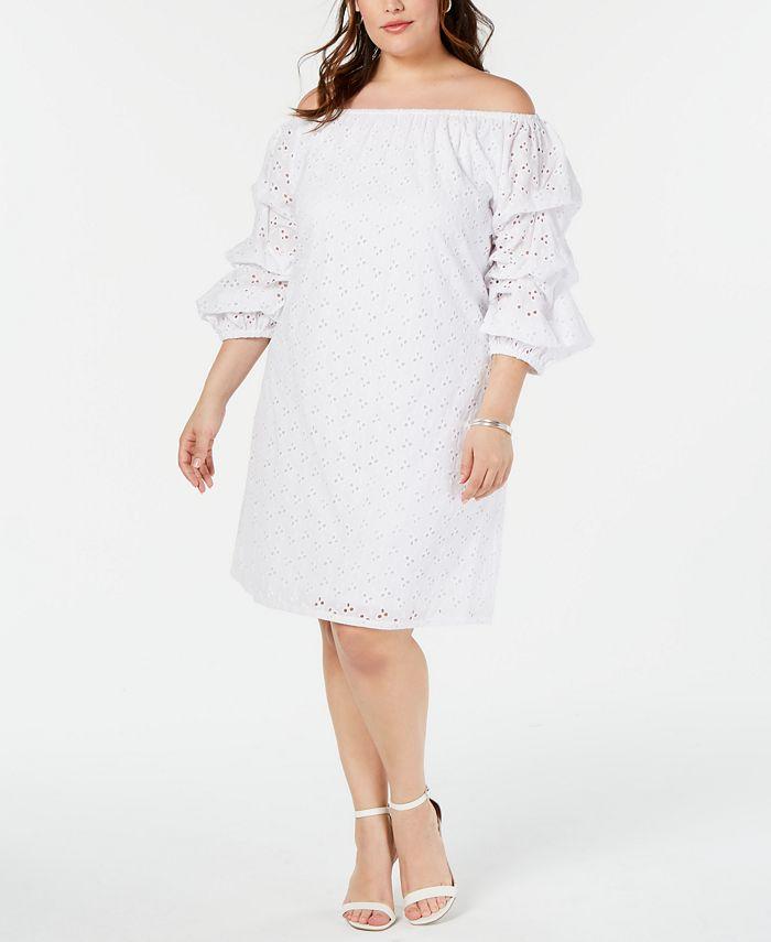 MSK - Plus Size Off-The-Shoulder Eyelet Dress