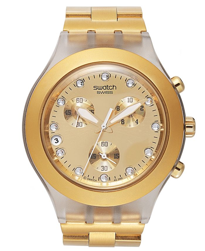 Swatch - Watch, Unisex Swiss Chronograph Full-Blooded Gold-Tone Aluminum Bracelet 43mm SVCK4032G