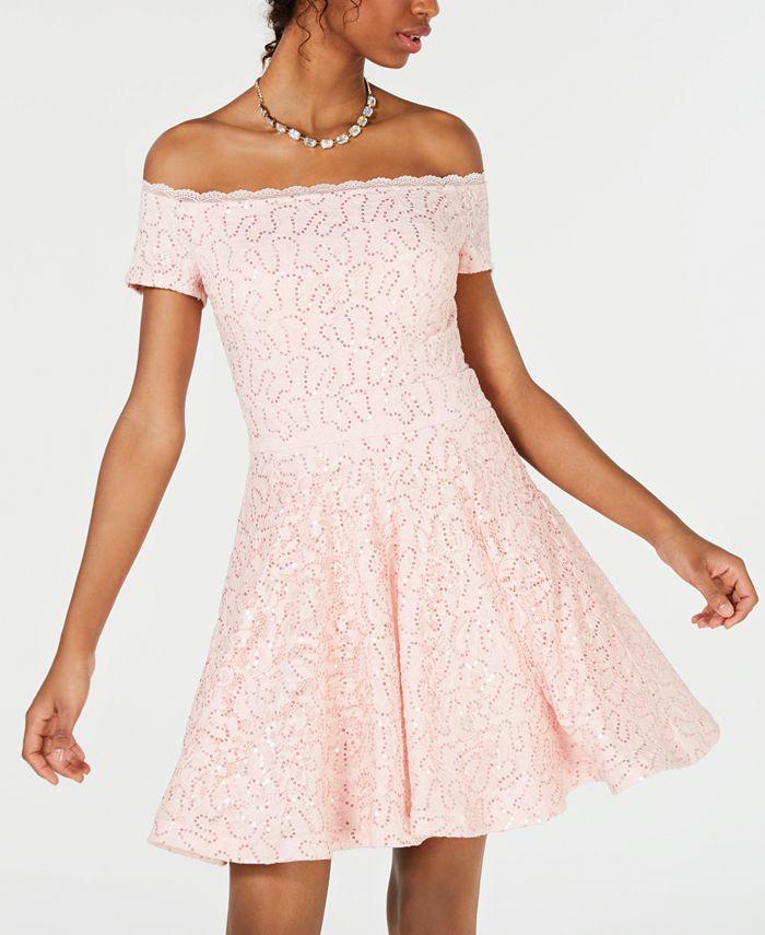 B Darlin - Juniors' Off-The-Shoulder Lace Dress