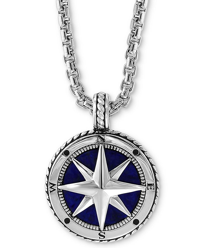 "EFFY Collection - Men's Lapis Lazuli (14-1/2mm) Compass 22"" Pendant Necklace in Sterling Silver"