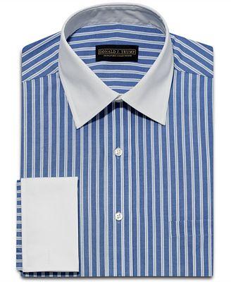 White Shirt Dress on Donald Trump Dress Shirt  Blue White Stripe White Collar French Cuff