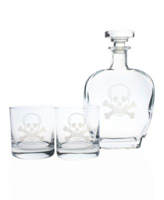 Skull And Cross Bones 3 Piece Gift Set - Whiskey Decanter And Rocks Glasses