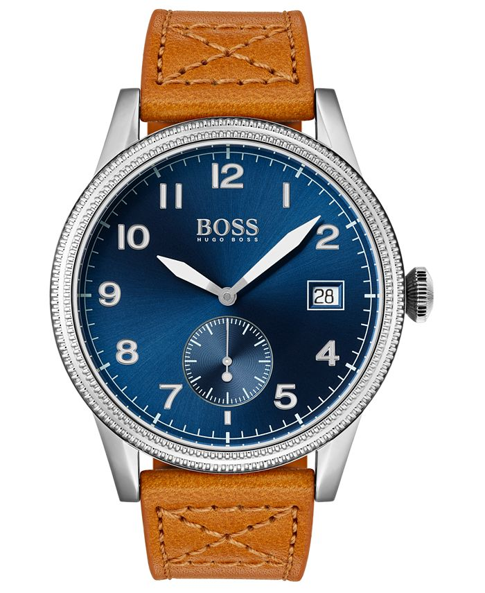 BOSS - Men's Legacy Brown Leather Strap Watch 44mm