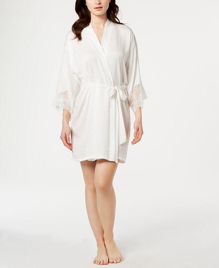 Linea Donatella - Graciela Lace-Trim Satin Wrap Robe