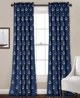 "Anchor Print 52"" x 84"" Curtain Set"