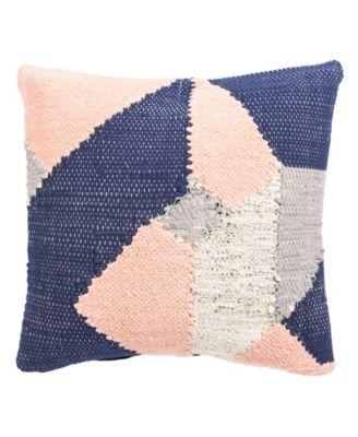 "Nikki Chu By Tanis Blue/Pink Geometric Down Throw Pillow 22"""