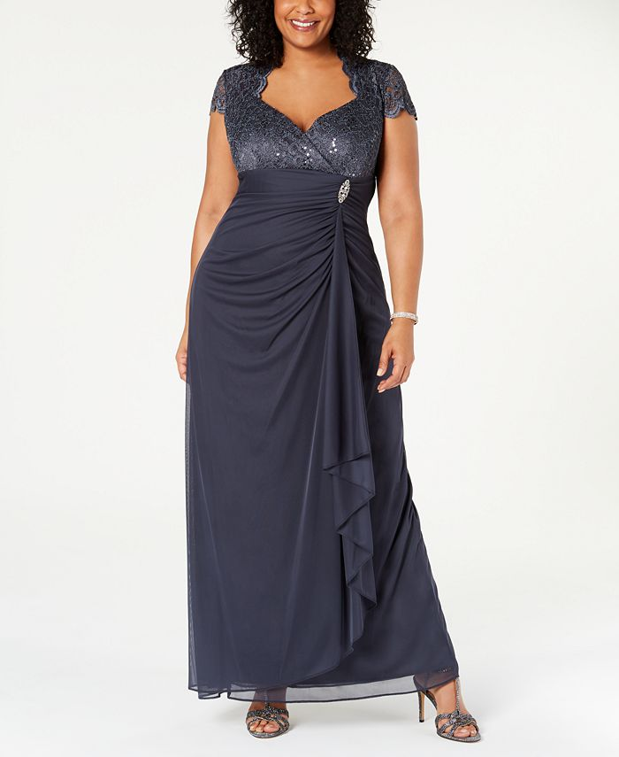 Betsy & Adam - Plus Size Sequined-Lace Ruched Gown