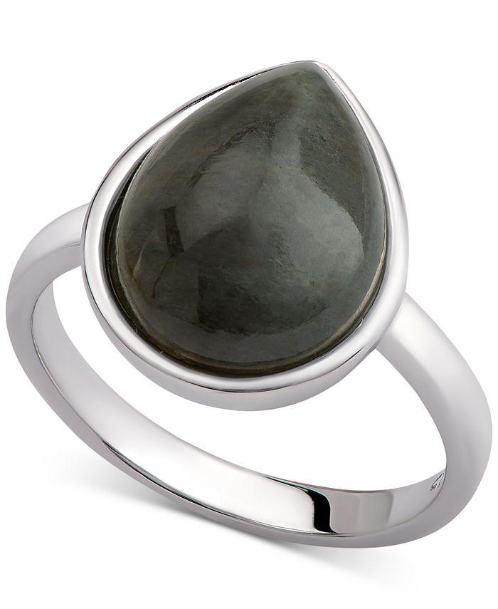 Macy's - Carnelian Teardrop Bezel Statement Ring (2-1/2 ct. t.w.) in Sterling Silver (Also available in Amethyst, Aqua Quartz & Labradorite)