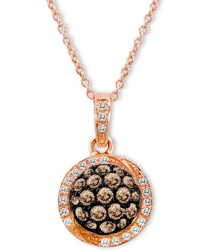 Le Vian 14k Rose Gold Chocolate Diamond (5/8 ct. t.w.) and White Diamond Accent Pave Oval Pendant
