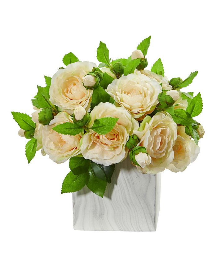 Nearly Natural - Camellia Artificial Arrangement in Marble Finished Vase