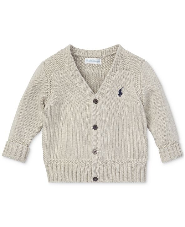 Polo Ralph Lauren Ralph Lauren Baby Boys Combed Cotton V-Neck Cardigan
