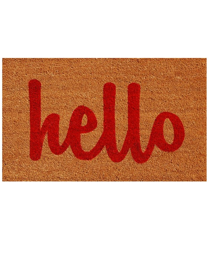"Home & More - Hello Script 24"" x 36"" Coir/Vinyl Doormat"