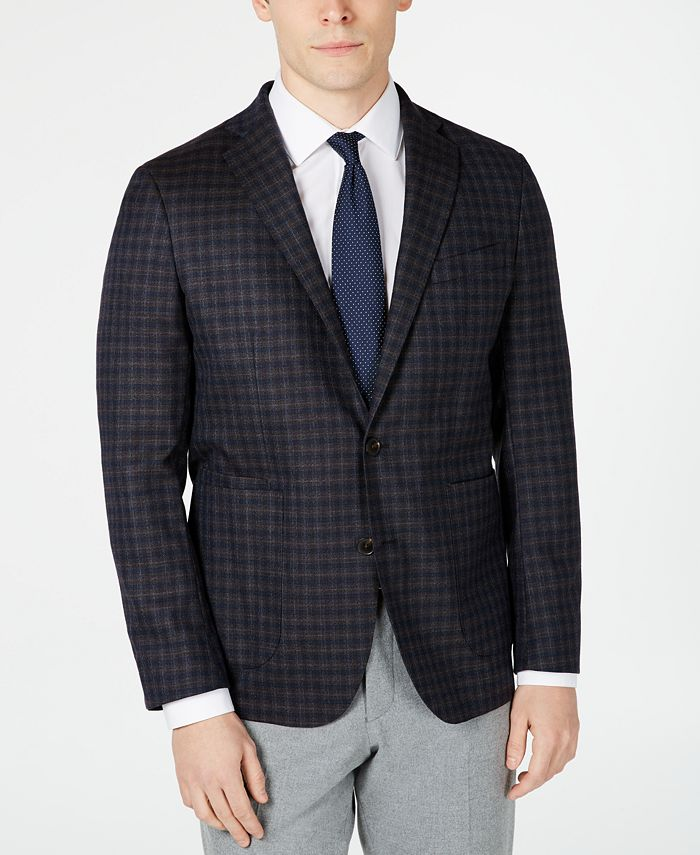 Cole Haan - Men's Grand .OS Wearable Technology Slim-Fit Stretch Plaid Sport Coat