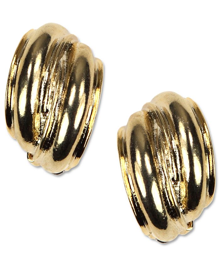 Anne Klein - Earrings, Gold-Tone Button Clip On Earrings