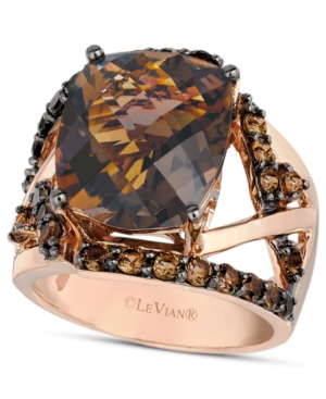 Le Vian 14k Rose Gold Ring, Smokey Quartz Gladiator Ring (8-1/4 ct. t.w.)