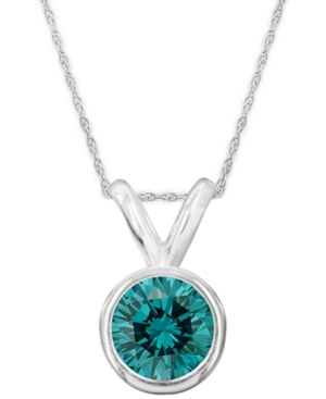 14k White Gold Necklace, Blue Diamond Bezel Pendant (1 ct. t.w.)