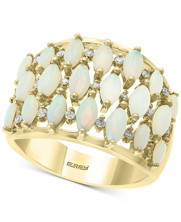 EFFY Collection EFFY® Opal (1 ct. t.w.) & Diamond (1/6 ct. t.w.) Statement Ring in 14k Gold