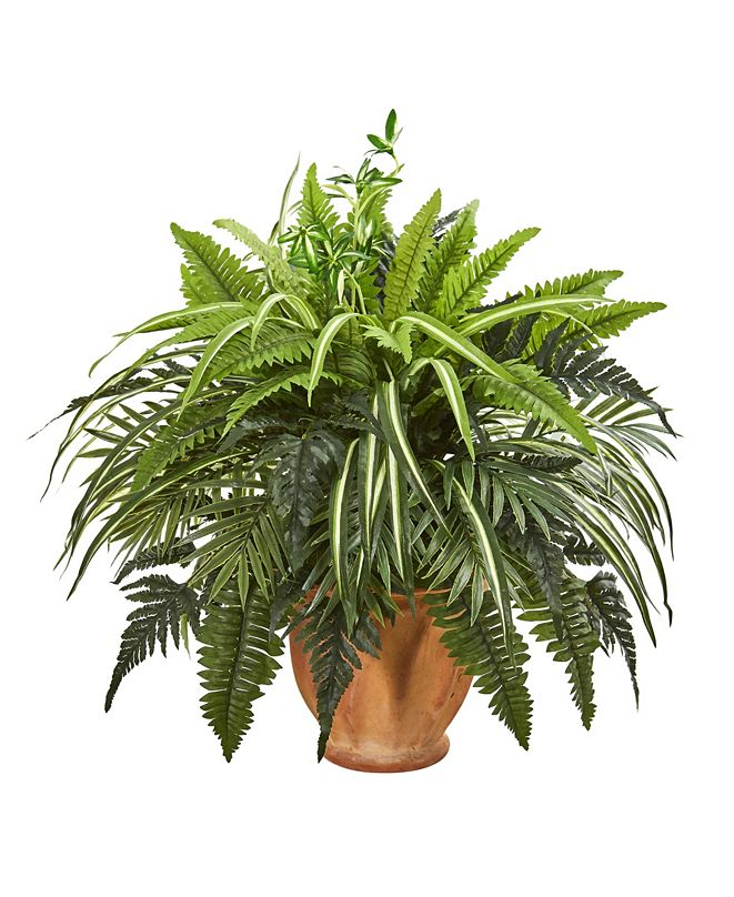 """Nearly Natural 23"""" Mixed Greens and Fern Artificial Plant in Terra Cotta Planter"""