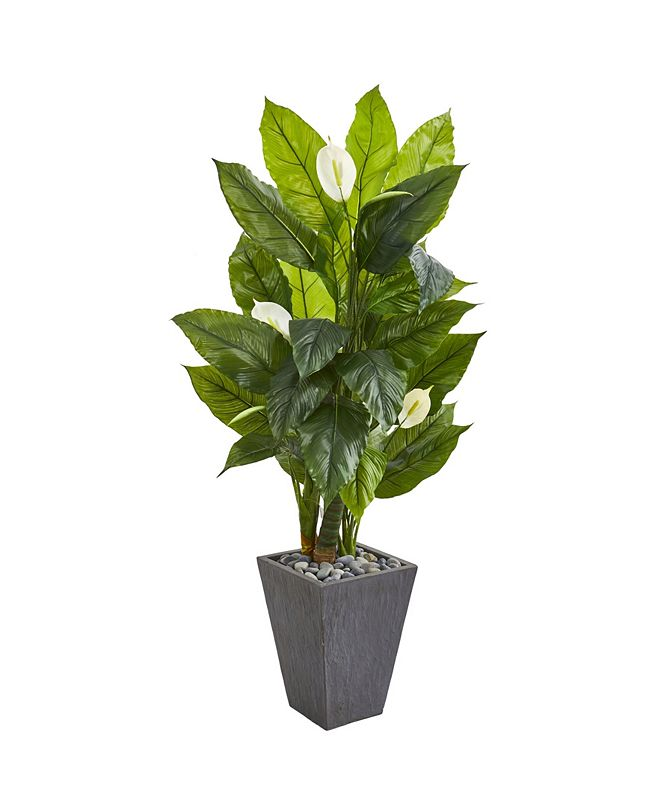 """Nearly Natural 63"""" Spathiphyllum Artificial Plant in Slate Planter (Real Touch)"""