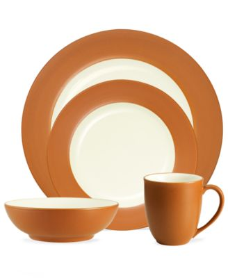 Noritake Dinnerware, Colorwave Terra Cotta Rim 4 Piece Place Setting