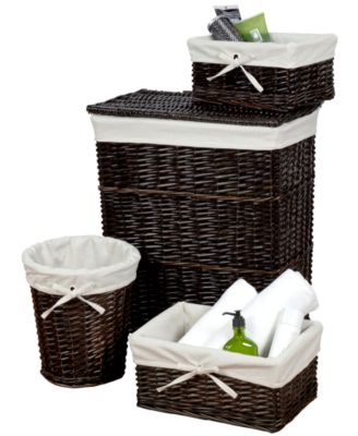 Creative Bath Hamper and Storage Set, 4 Piece Walnut Willow Wickerworks