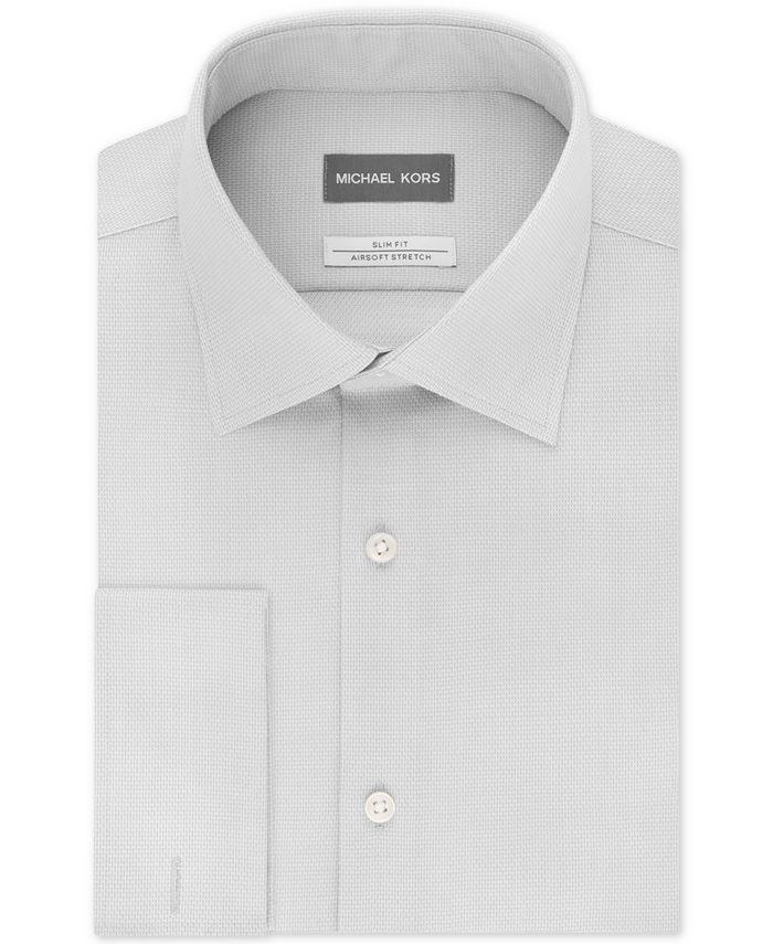 Michael Kors - Men's Slim-Fit Airsoft Stretch Moisture-Wicking Non-Iron French-Cuff Dress Shirt