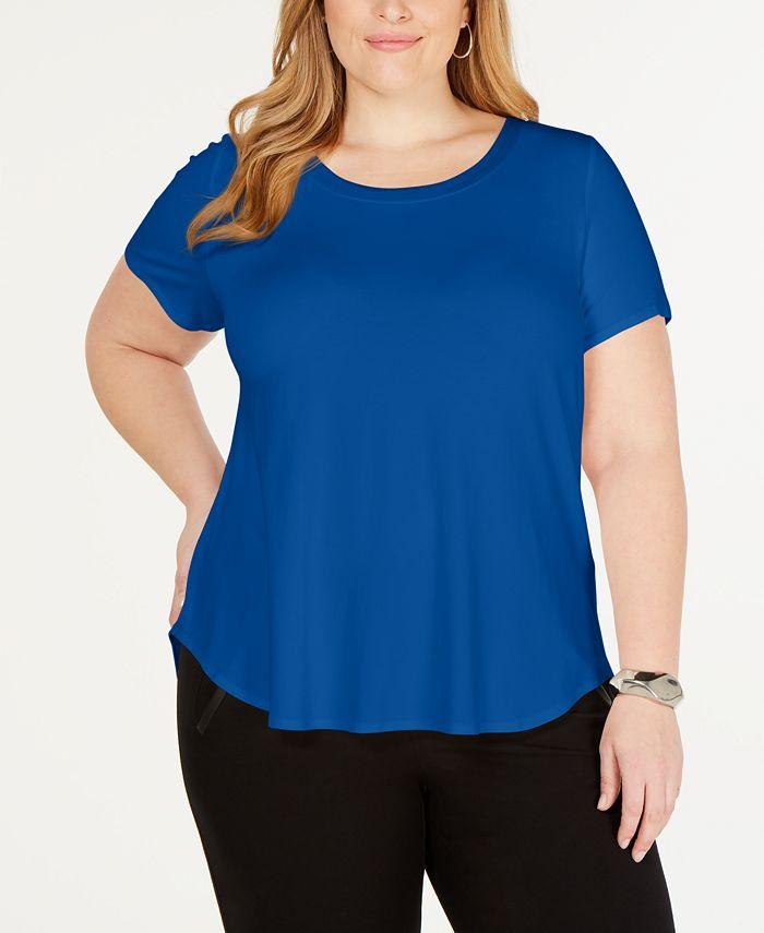 Alfani - Plus Size Satin-Trimmed T-Shirt