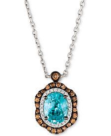 Le Vian® Blueberry Zircon™ (1-9/10 ct. t.w.), Vanilla Diamonds® (1/8 ct. t.w.) & Chocolate Diamonds® (1/3 ct. t.w.) Pendant Neckace in 14k White Gold