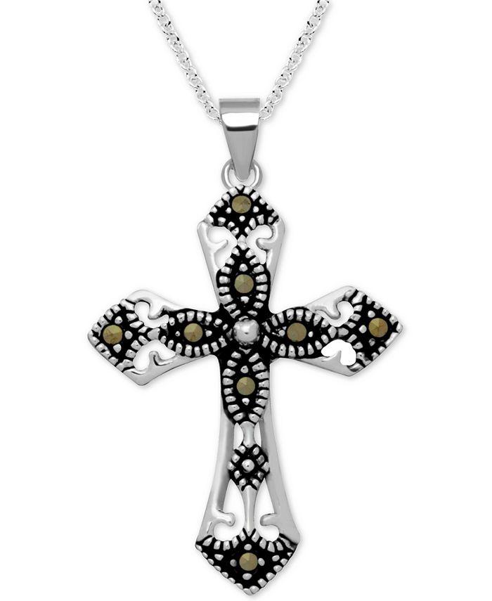 """Macy's - Marcasite Fancy Cross 18"""" Pendant Necklace in Fine Silver-Plate"""