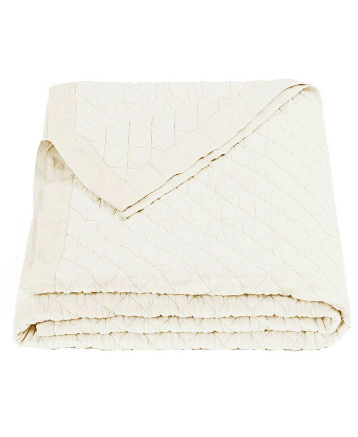 HiEnd Accents - Diamond Pattern Linen Quilt, Queen, in Vintage White