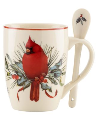 Lenox Winter Greetings Set of 2 Cocoa Mugs with Spoons