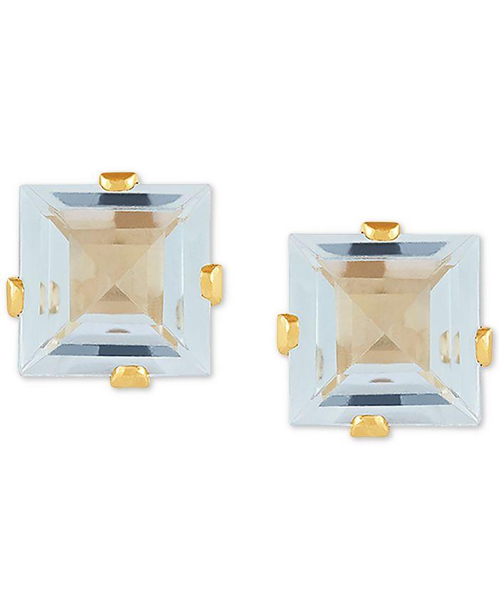Macy's - Aquamarine Square Stud Earrings (1 ct. t.w.) in 14k Gold