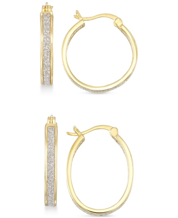Simone I. Smith Glitter Hoop Earrings Set in 18k Gold Over Sterling Silver or Sterling Silver & Reviews - Earrings - Jewelry & Watches - Macy's