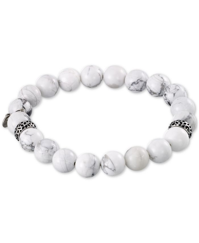 LEGACY for MEN by Simone I. Smith White Agate (10mm) Beaded Stretch Bracelet in Stainless Steel  & Reviews - Bracelets - Jewelry & Watches - Macy's