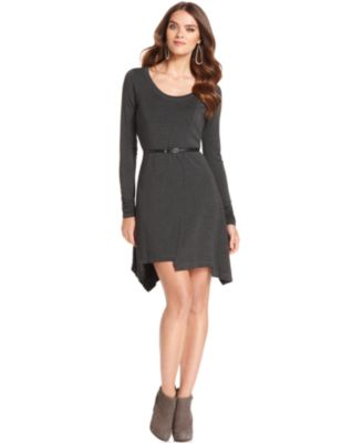 Kensie Dress, Long-Sleeve Scoop-Neck Asymmetrical-Hem