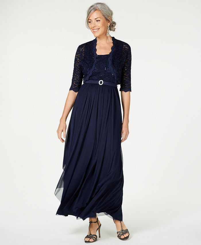 R & M Richards - Sequined Lace Belted Gown and Jacket