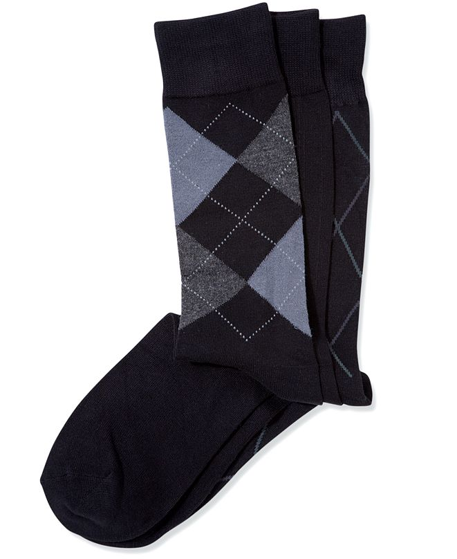 Perry Ellis Portfolio Perry Ellis Men's 3-Pk. Patterned Dress Socks