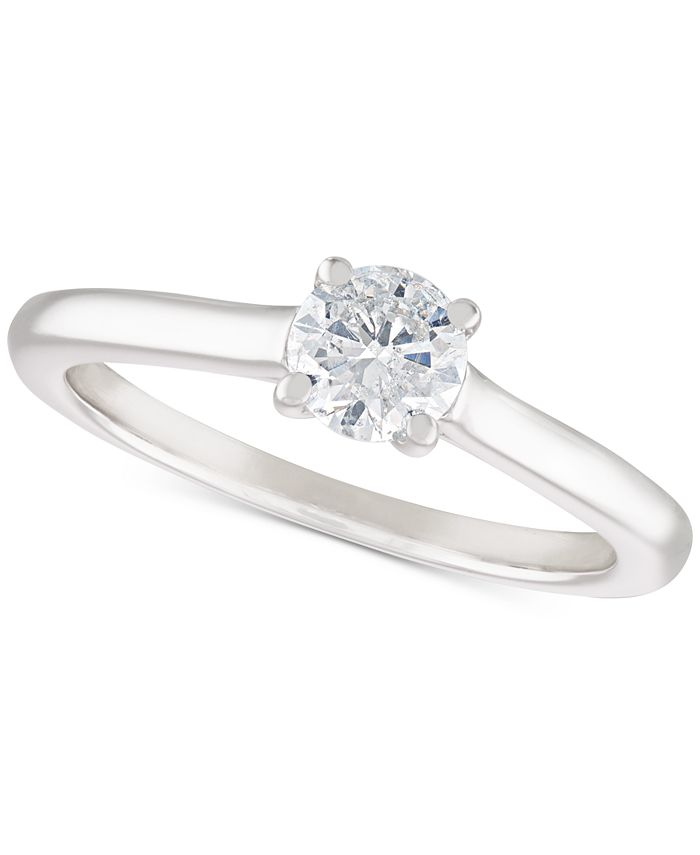 Macy's - Certified Diamond (1/2 ct. t.w.) Solitaire Engagement Ring