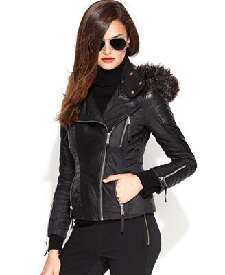 Michael Michael Kors Jacket Faux Fur Hood Faux Leather