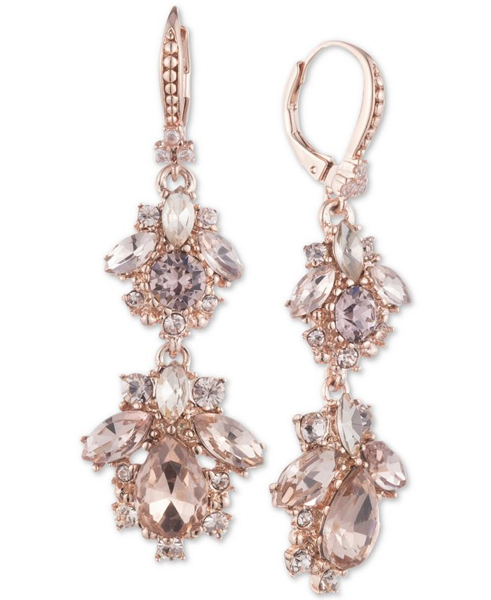 Marchesa - Rose Gold-Tone Crystal Cluster Double Drop Earrings
