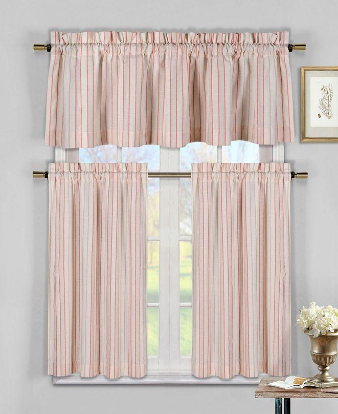 Duck River Textile Xandra 3-Piece Striped Kitchen Curtain Set