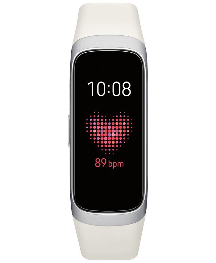 """Samsung - Unisex Galaxy Fit White Touchscreen Elastomer Strap Smart Watch .95"""""""