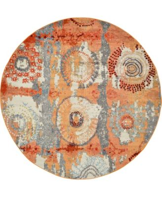 Newwolf New3 Orange 8' x 8' Round Area Rug