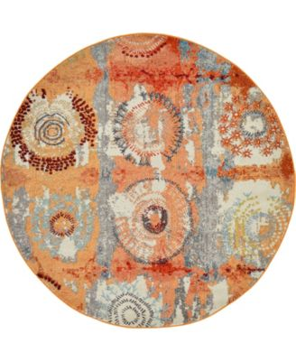 Newwolf New3 Orange 6' x 6' Round Area Rug