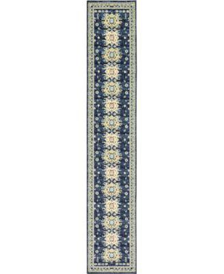 "Charvi Chr1 Navy Blue 3' x 16' 5"" Runner Area Rug"