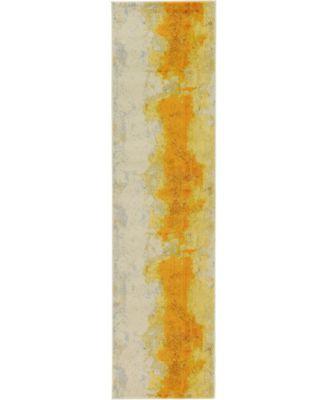 """Newwolf New4 Yellow 2' 7"""" x 10' Runner Area Rug"""