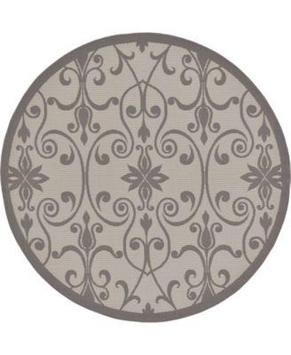 Pashio Pas5 Gray 6' x 6' Round Area Rug
