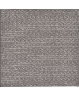 Pashio Pas6 Gray 6' x 6' Square Area Rug